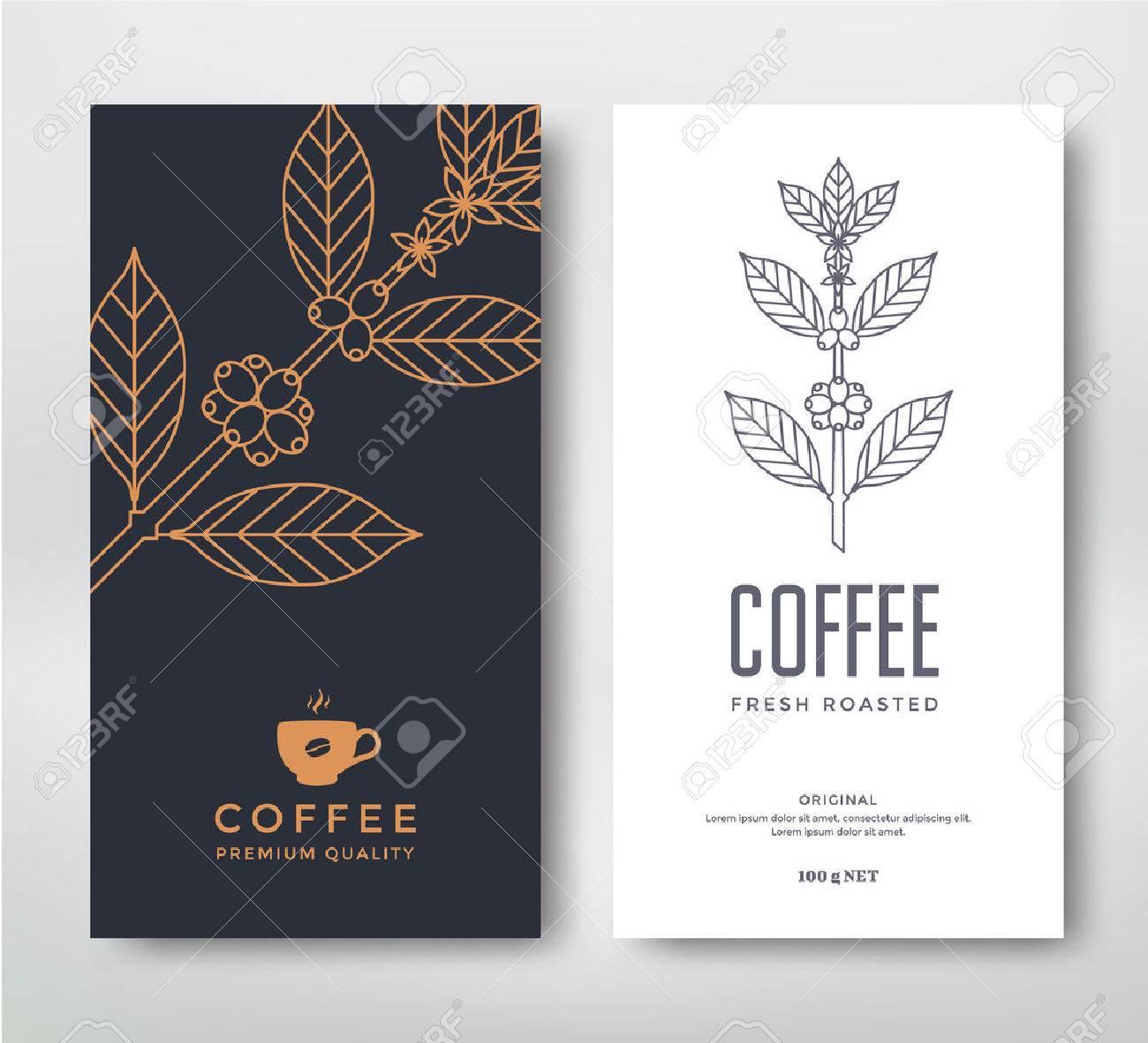 Verpackungsdesign Für Einen Kaffee. Vektor-Vorlage. Line-Stil Vektor ...