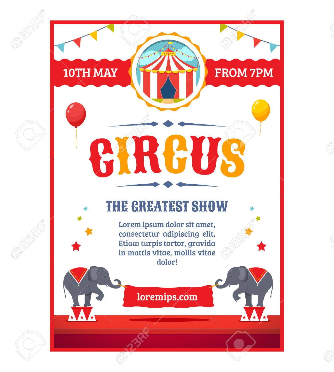 Circus Greatest Show Poster Template Cartoon Illustration Stock Vector
