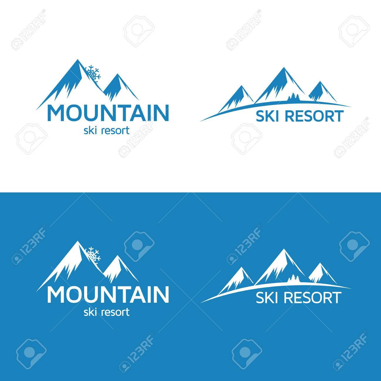 Ski resort logo template. Mountain silhouette. - 54017709