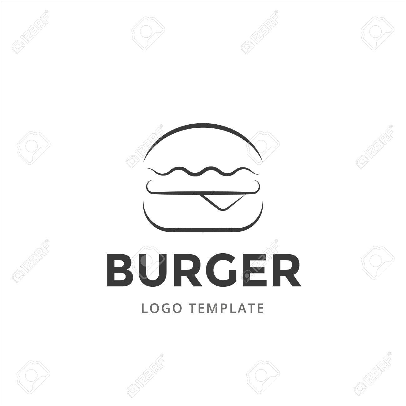 Burger vector logo template in line style. - 58049325