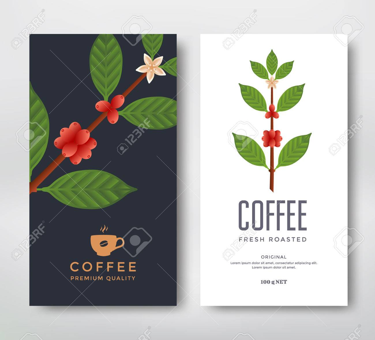 Diseño De Packaging Para Un Café. Vector Paquete De La Plantilla ...