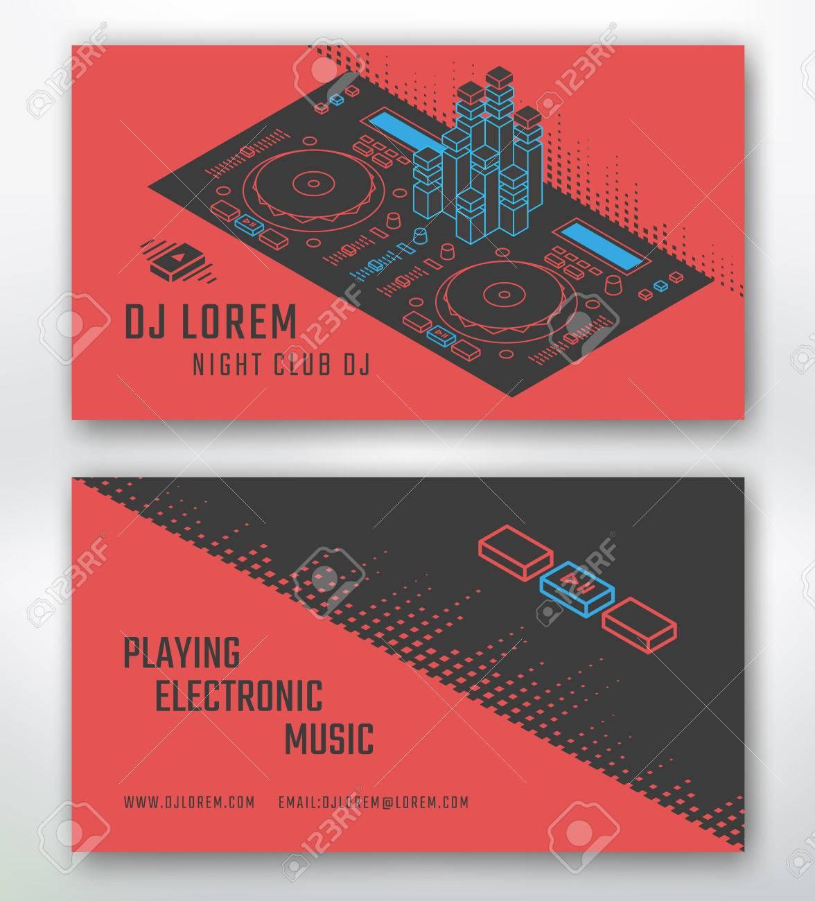 Visitenkarte Fur Dj Oder Musikstudio Nachtclub Standard Bild