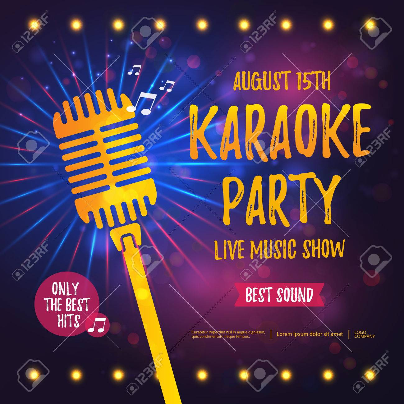 Karaoke party banner with microphone. - 59650849