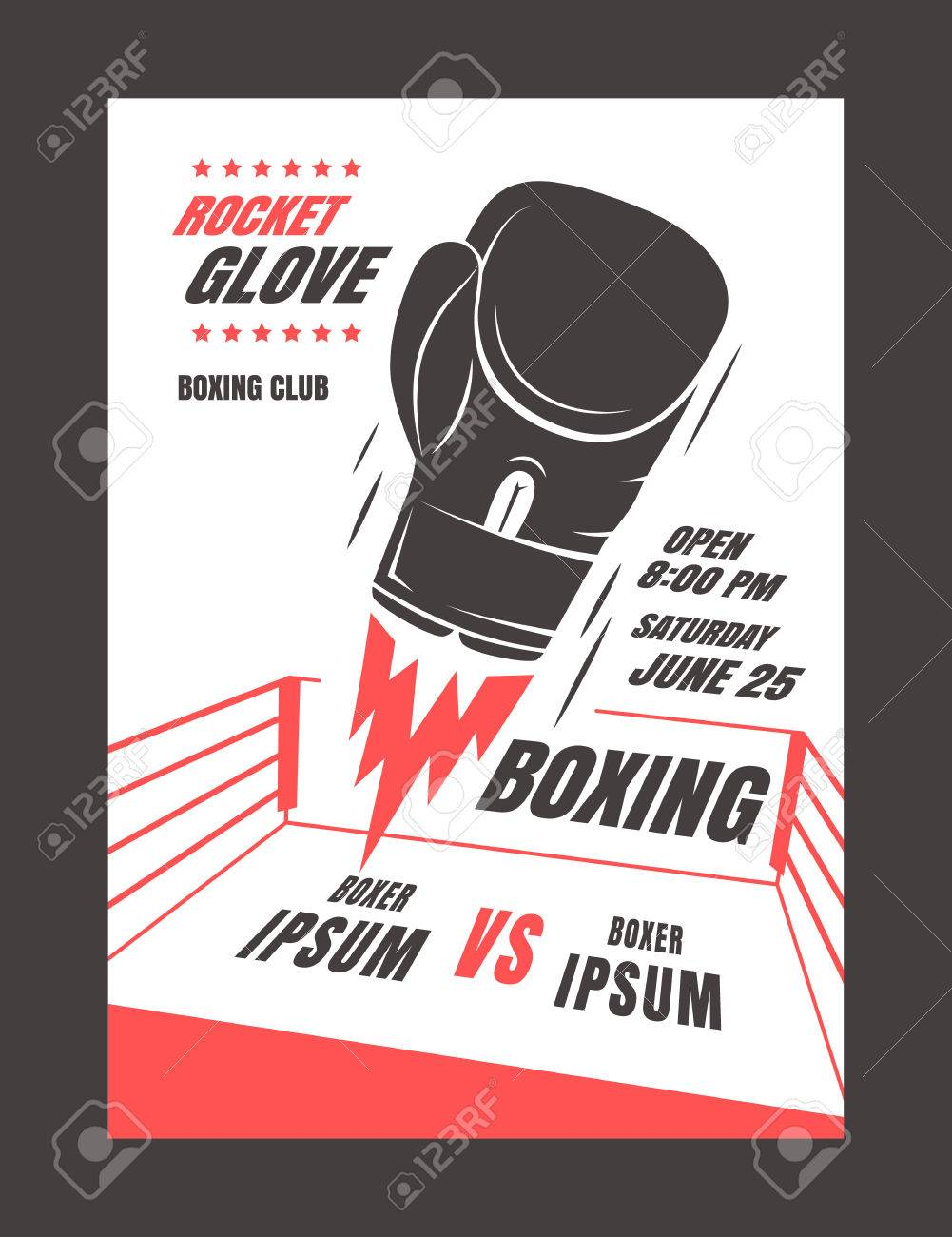 Boxing Championship Poster Template Design. Glove Rocket. Royalty ...