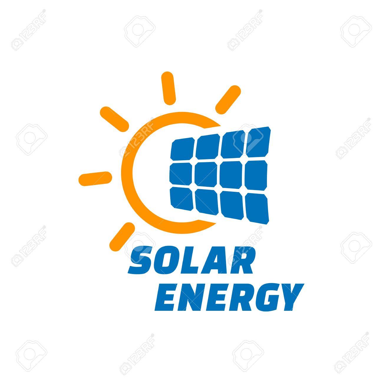 Solar energy logo or icon. Vector solar panel sign. - 61841548