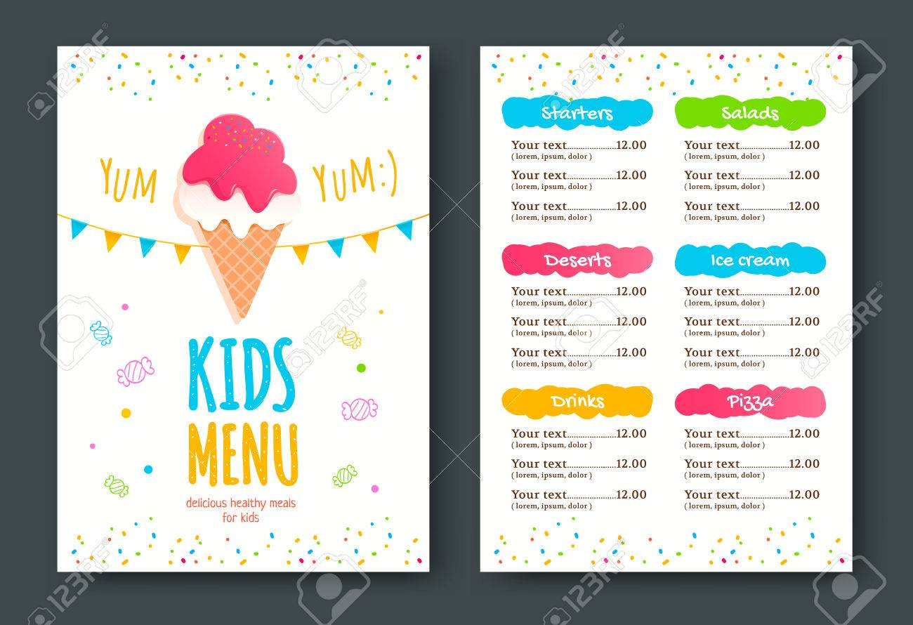 kids menu template with ice cream royalty free cliparts vectors