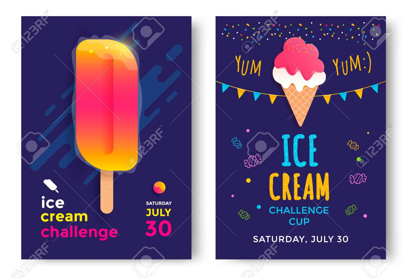 Poster design challenge - Ice Cream Challenge Cup Posters Design Template Stock Vector 64642232