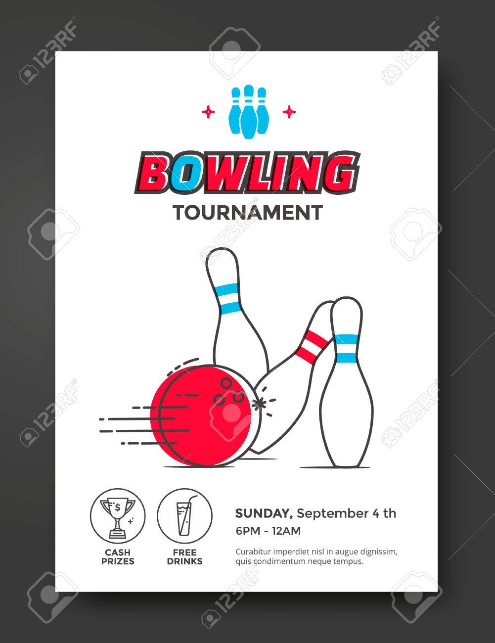 bowling tournament poster vector template flyer with line