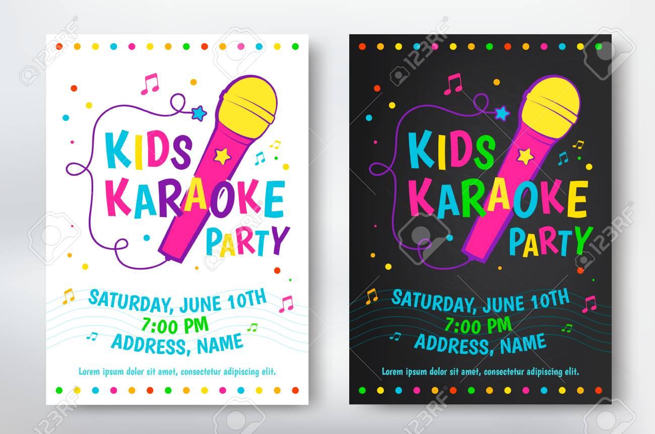 Cartel De Fiesta De Karaoke Para Niños O Diseño De Flyer Ilustración Vectorial