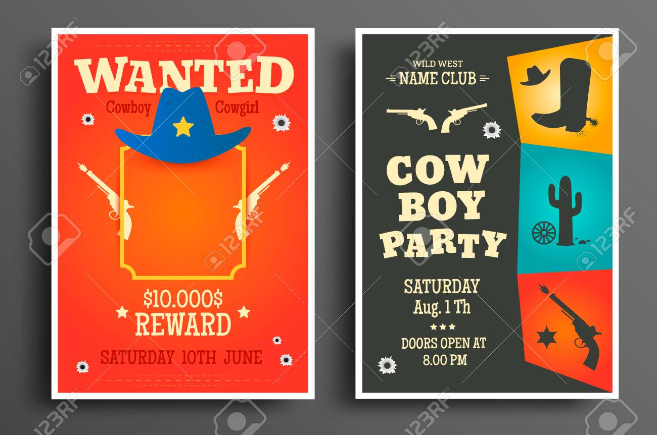 Wanted Western Poster And Cowboy Party Flyer Or Invitation Template