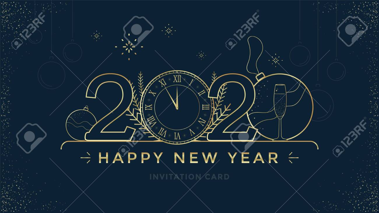 Happy New Year 2020 greeting card design with stylized Golden clock and decoration on dark background. Merry Christmas golden line illustration. - 132799184
