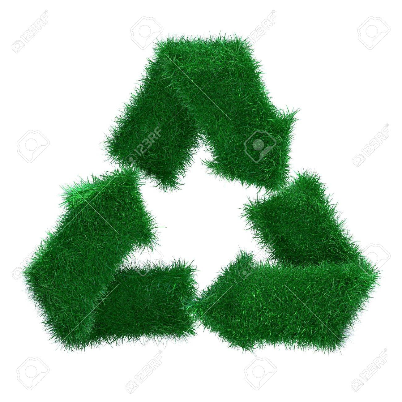 3d grass recycle arrows isolated on white background Stock Photo - 7553898