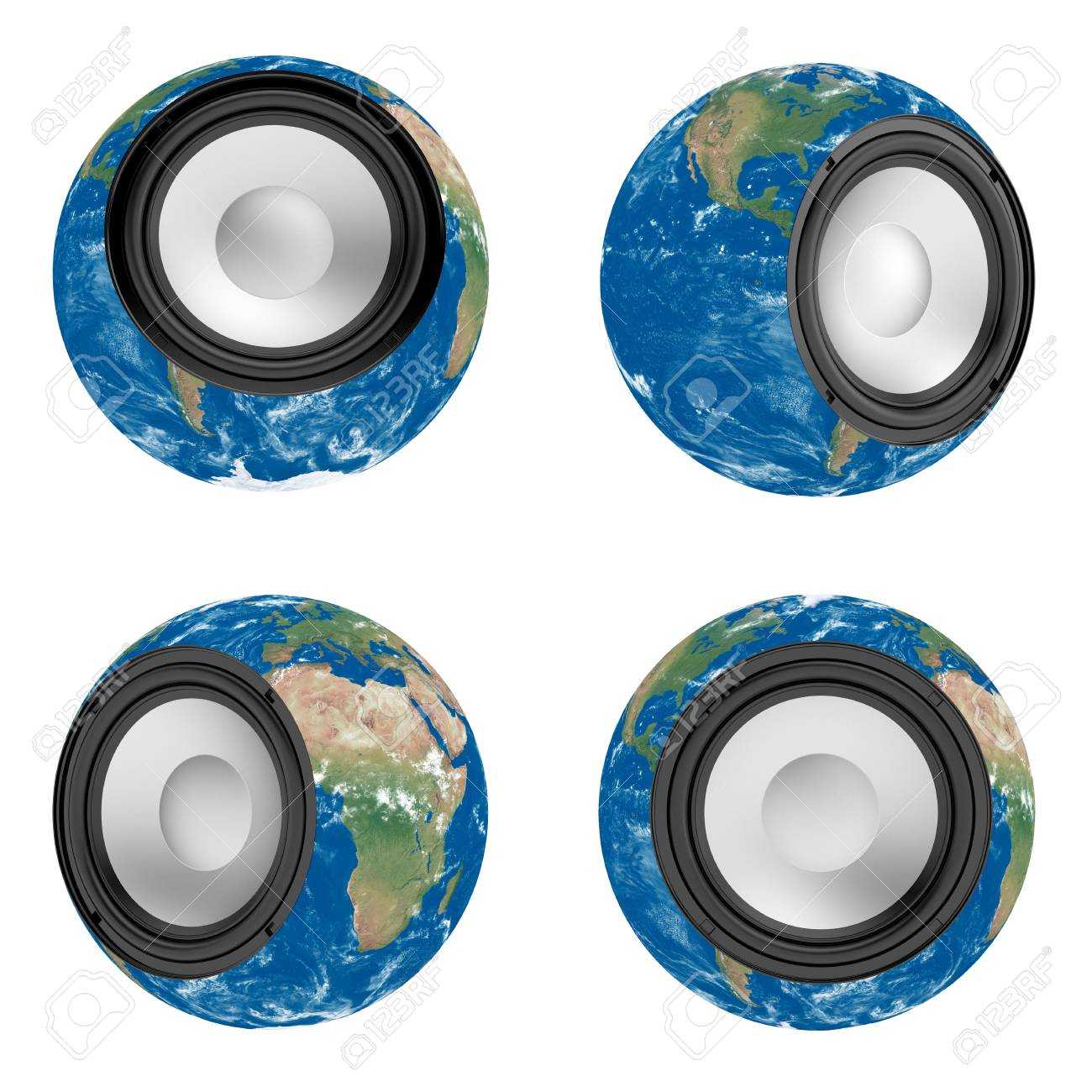 3d render of Earth with mounted musical speake Stock Photo - 8158074
