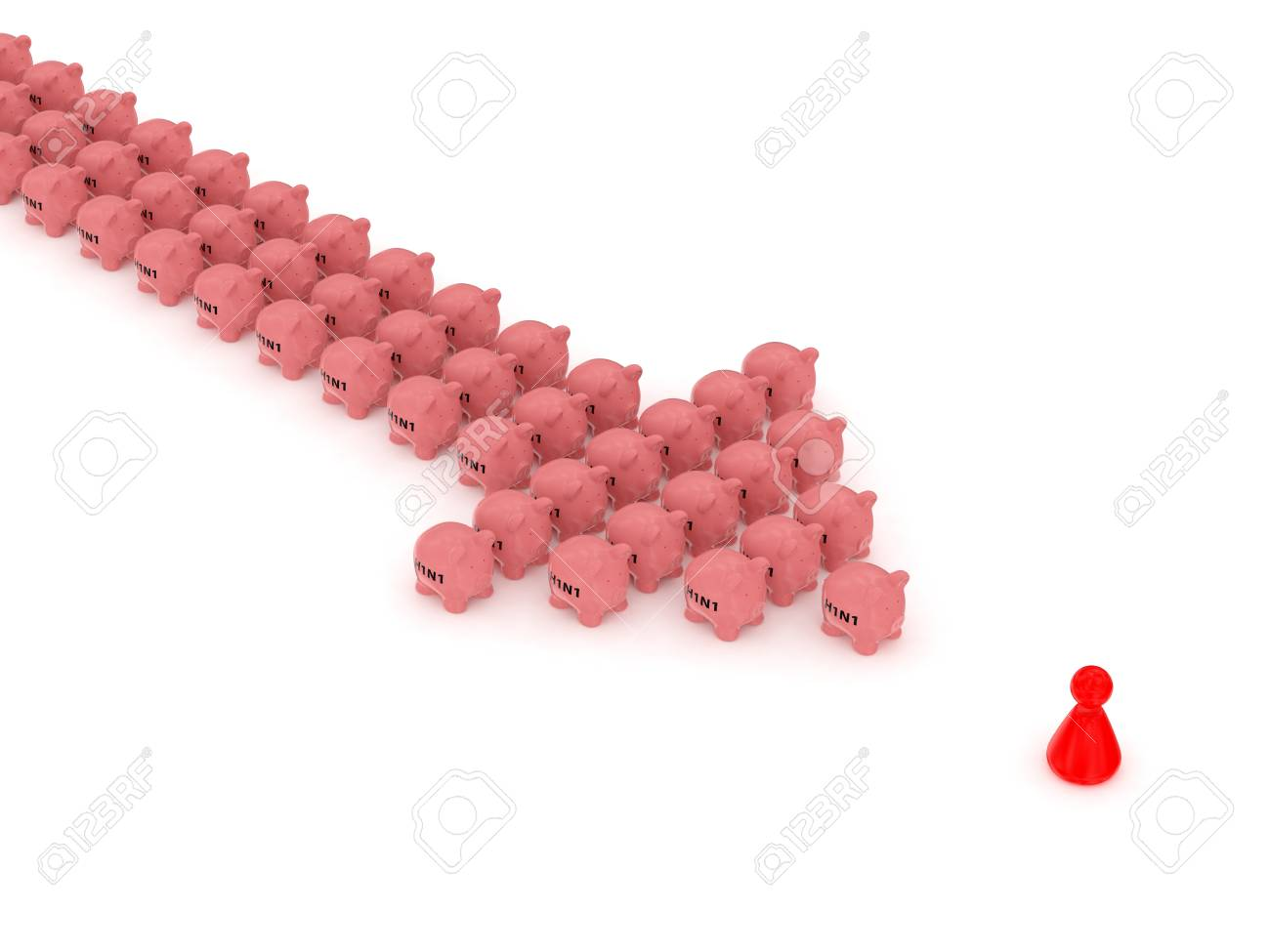 3d render of swine flu arrow and red people on white background Stock Photo - 8381096