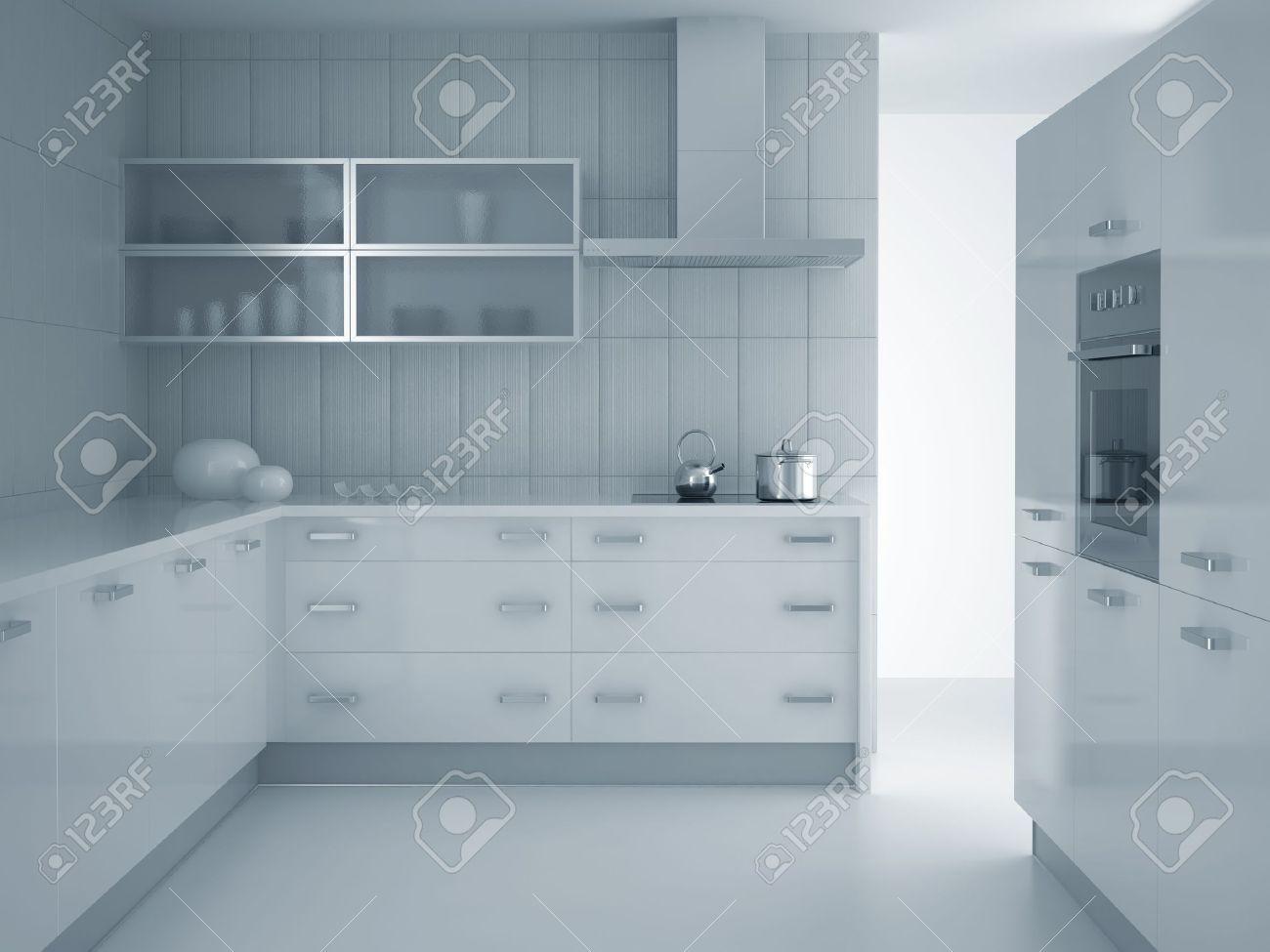 3D Render Of Modern Grau Blau Küche Lizenzfreie Fotos, Bilder Und ...