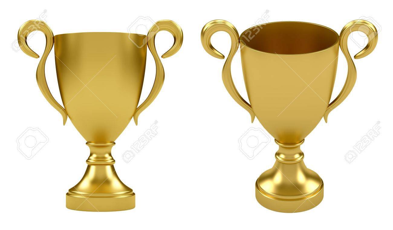 3d render of gold cup isolated on white background Stock Photo - 9714528
