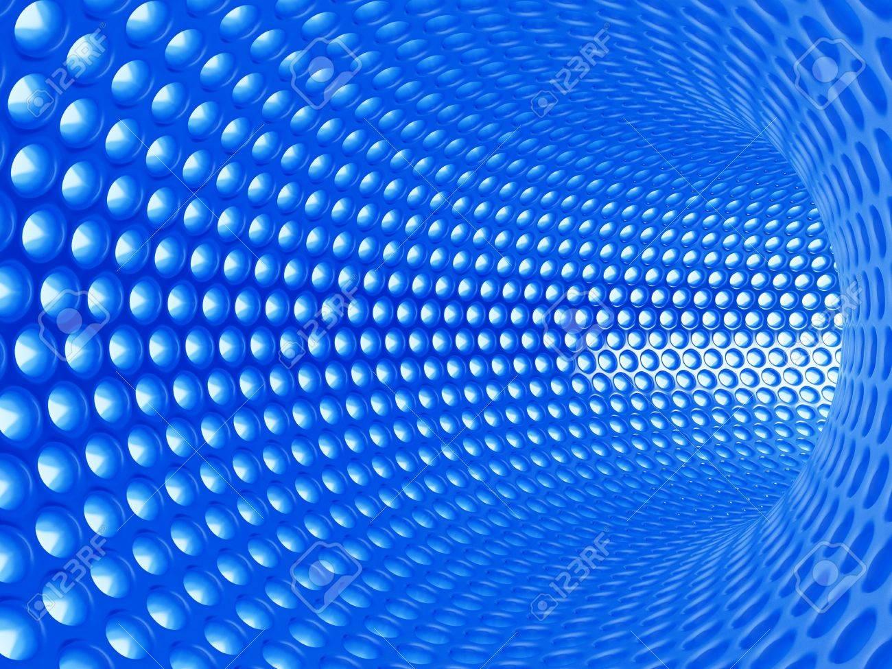3d illustration of abstract blue tunnel Stock Illustration - 9849602