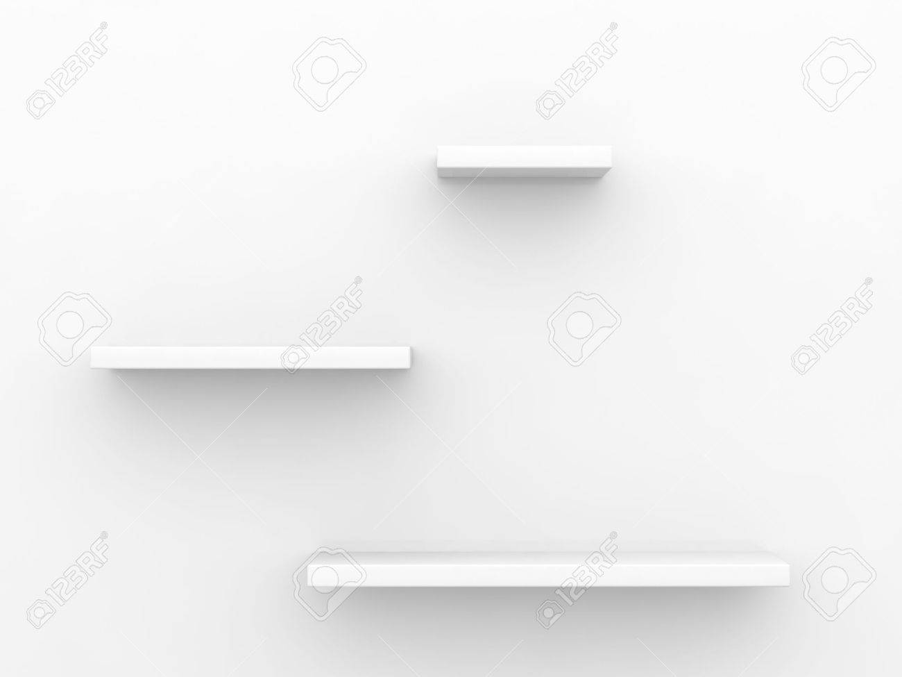 3d of three empty shelves on white wall stock