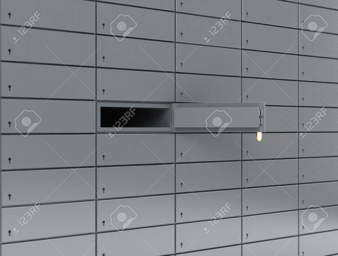 Illustration of opened deposit box with key and blank label Stock Illustration - 11530499