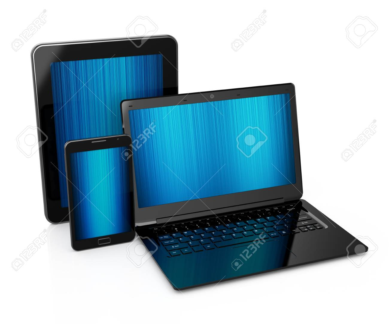 Illustration of tablet pc, mobile phone and laptop  isolated on white Stock Photo - 12724436