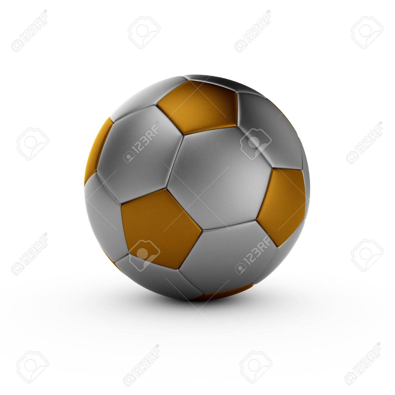 3d render of gold soccer ball isolated on white background Stock Photo - 14021460