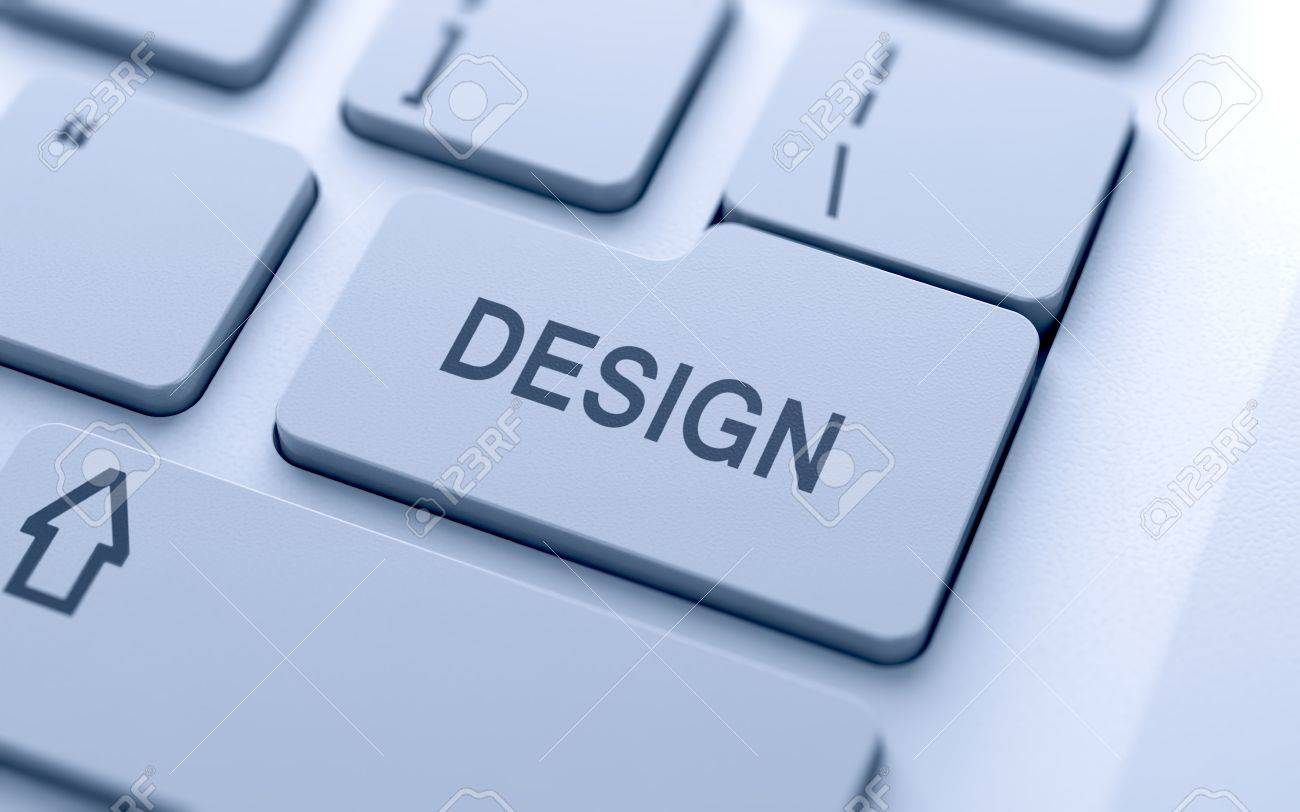 Design button on keyboard with soft focus Stock Photo - 14747352