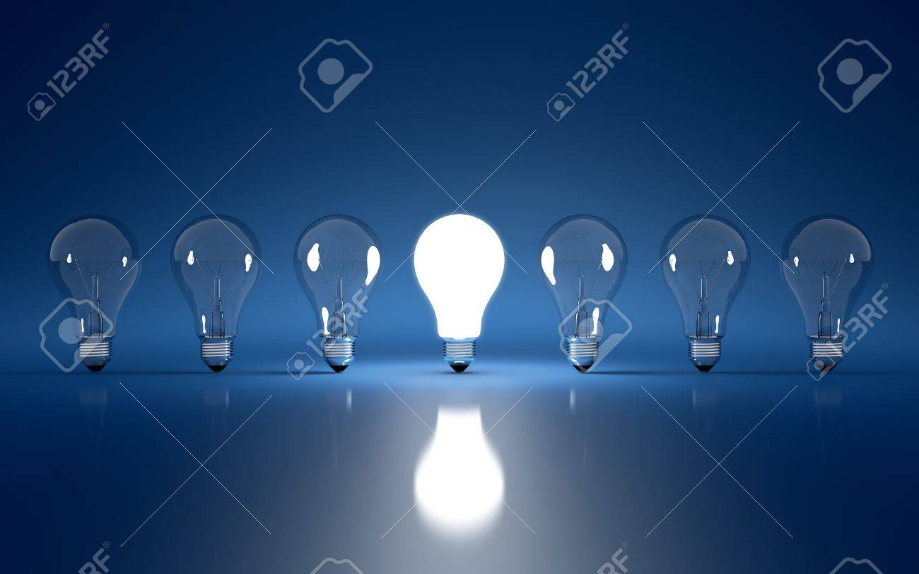 High Resolution 3d Render Of Light Bulb Clipart On Dark Blue Background  Stock Photo   15172411