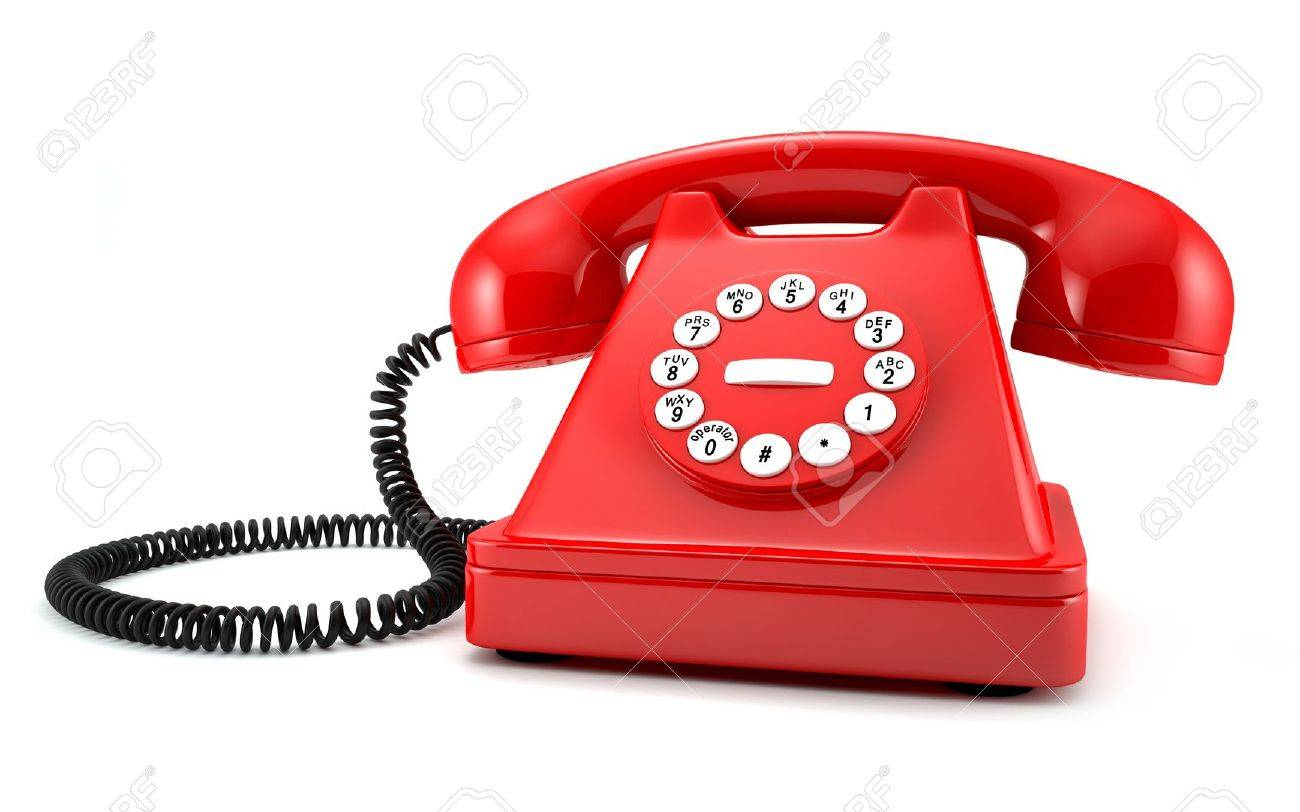 3d Illustration Of Red Old Fashioned Phone On White Background Stock