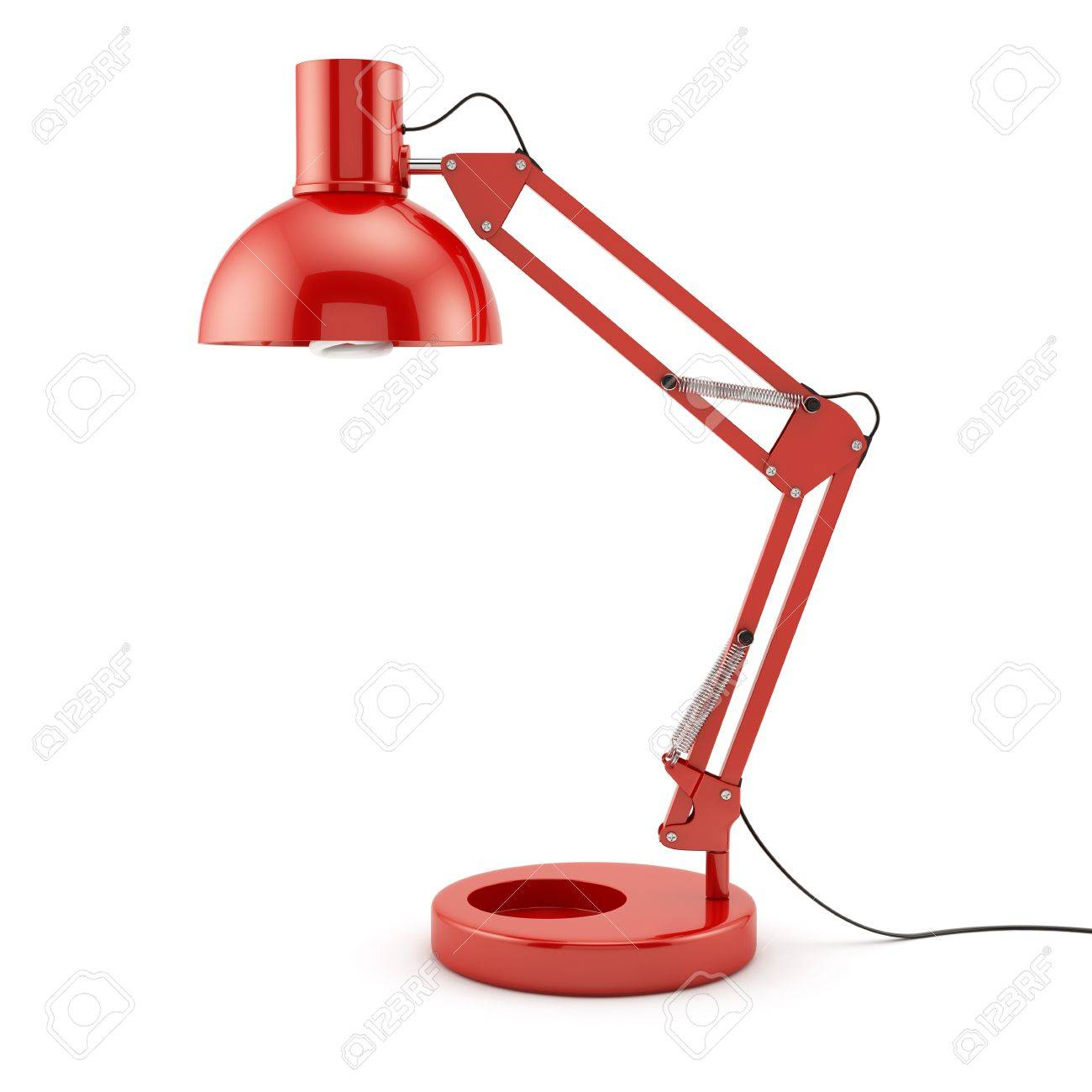 3d of red table lamp isolated on white background stock - Red Lamp