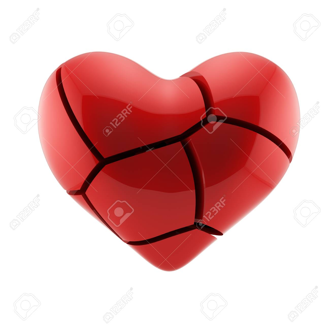 3d Render Of Broken Heart Isolated On White Background Stock Photo