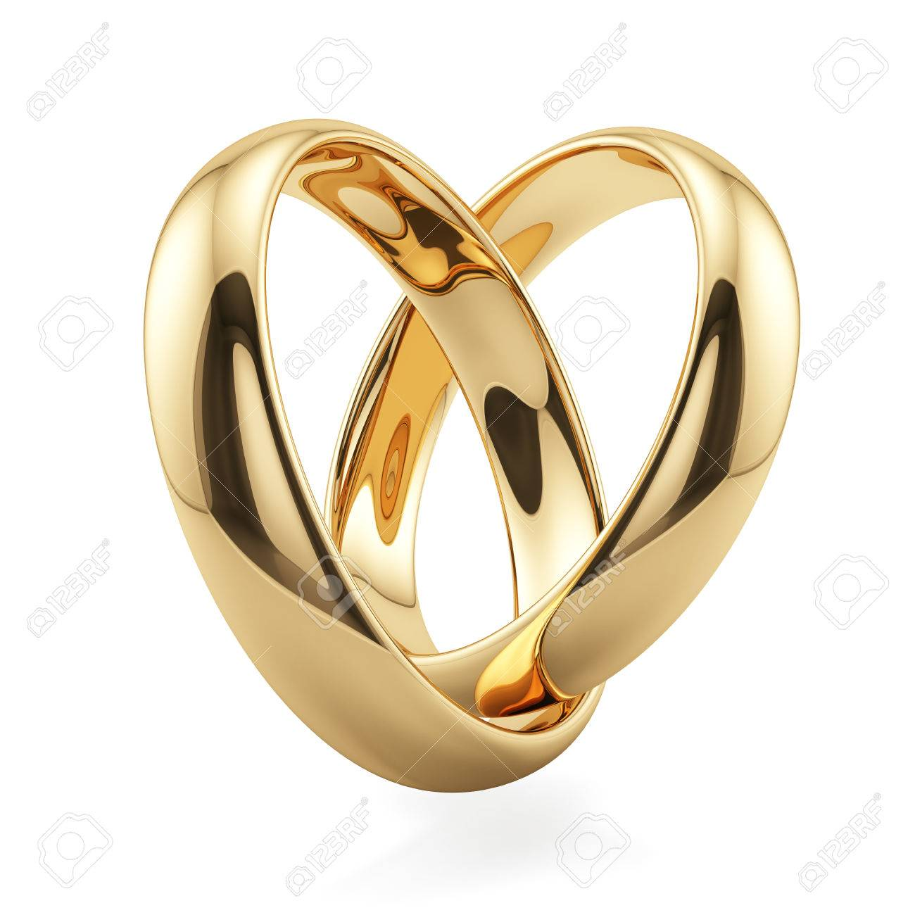 3d Render Of Golden Rings Heart Shape Isolated On White Background ...