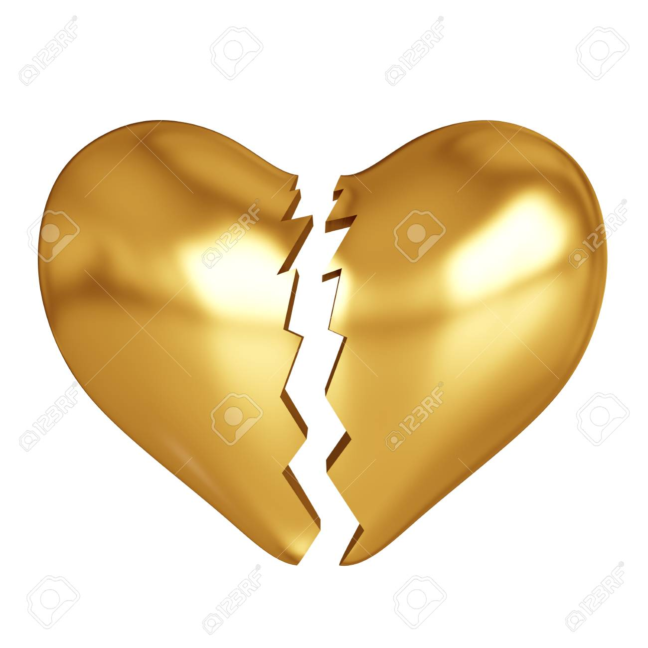 3d Render Of Golden Broken Heart Om White Background Stock Photo