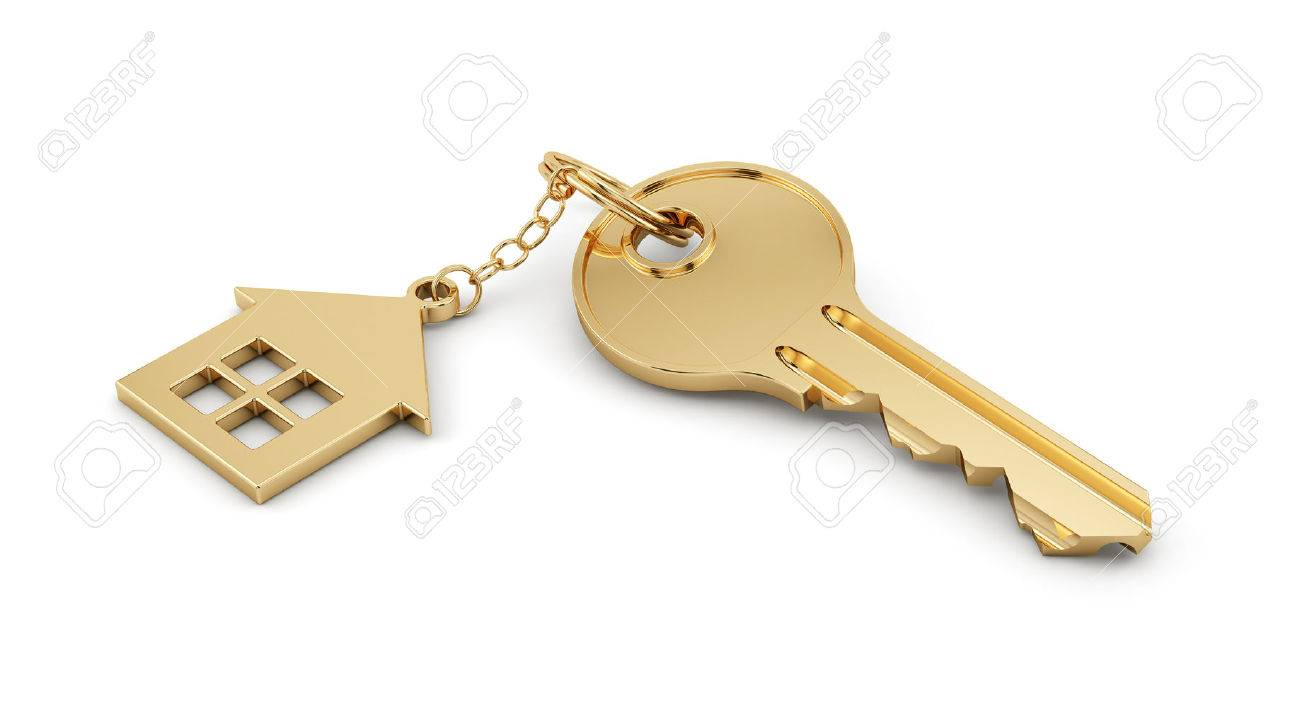 With golden key 3d rendering plan concept with golden key 3d rendering - 3d Render Of Golden Home Key Isolated On White Background Estate Concept Stock Photo