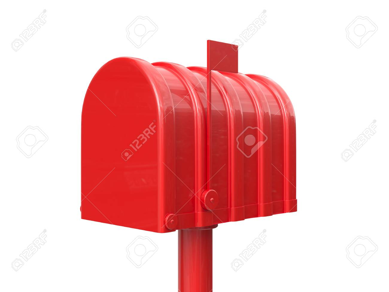 3d Illustration Of Closed Red Mailbox Isolated On White Background