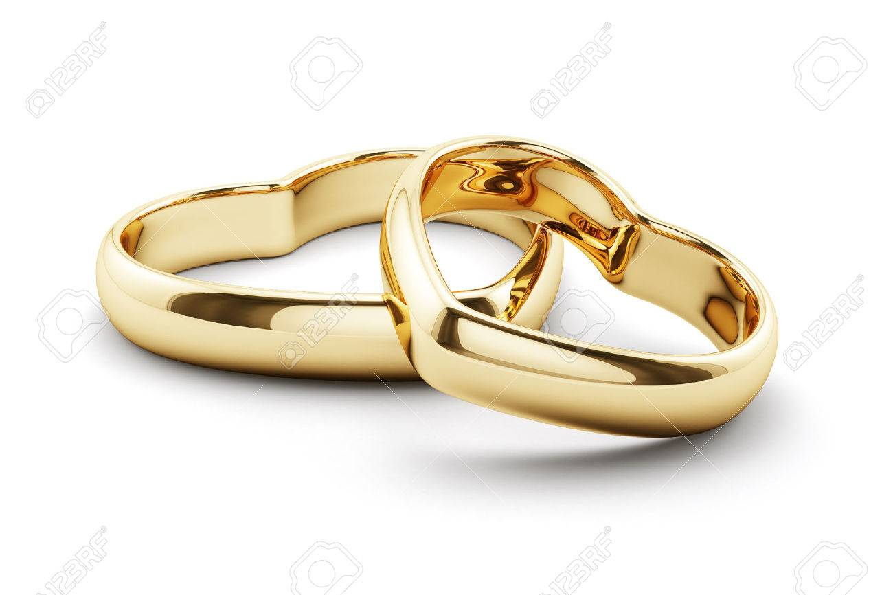 3d render of heart shaped golden rings isolated on white background - 50900891