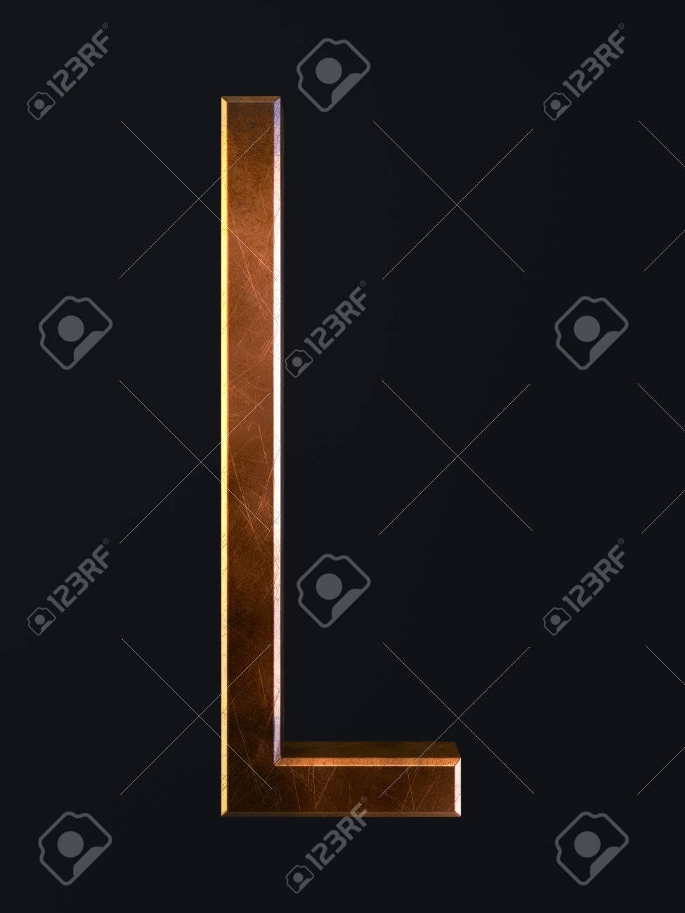 3d Render Of Golden Metal Dirty Rust Scratch Alphabet Letter Stock