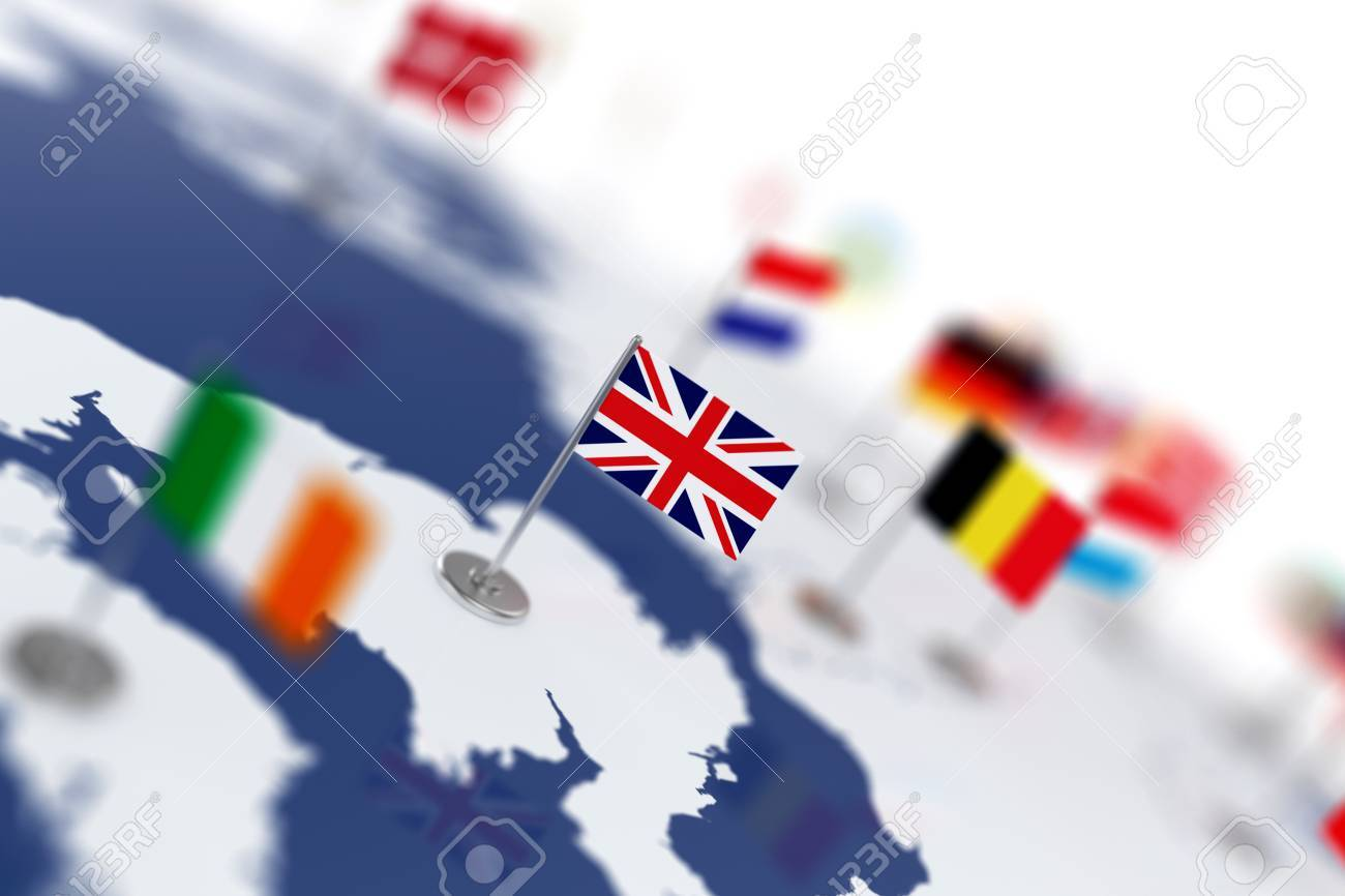 england flag in the focus europe map with countries flags shallow depth of field