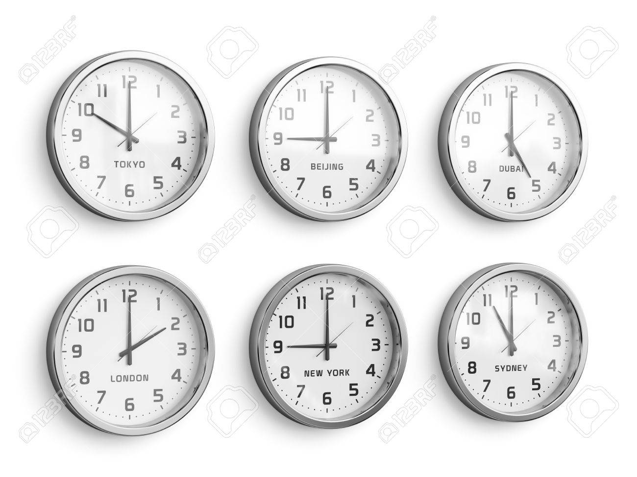 1c1cdb6323c Foto de archivo - Parede do tempo mundial. Relógios de fuso horário  mostrando tempo diferente isolado no fundo da parede branca.