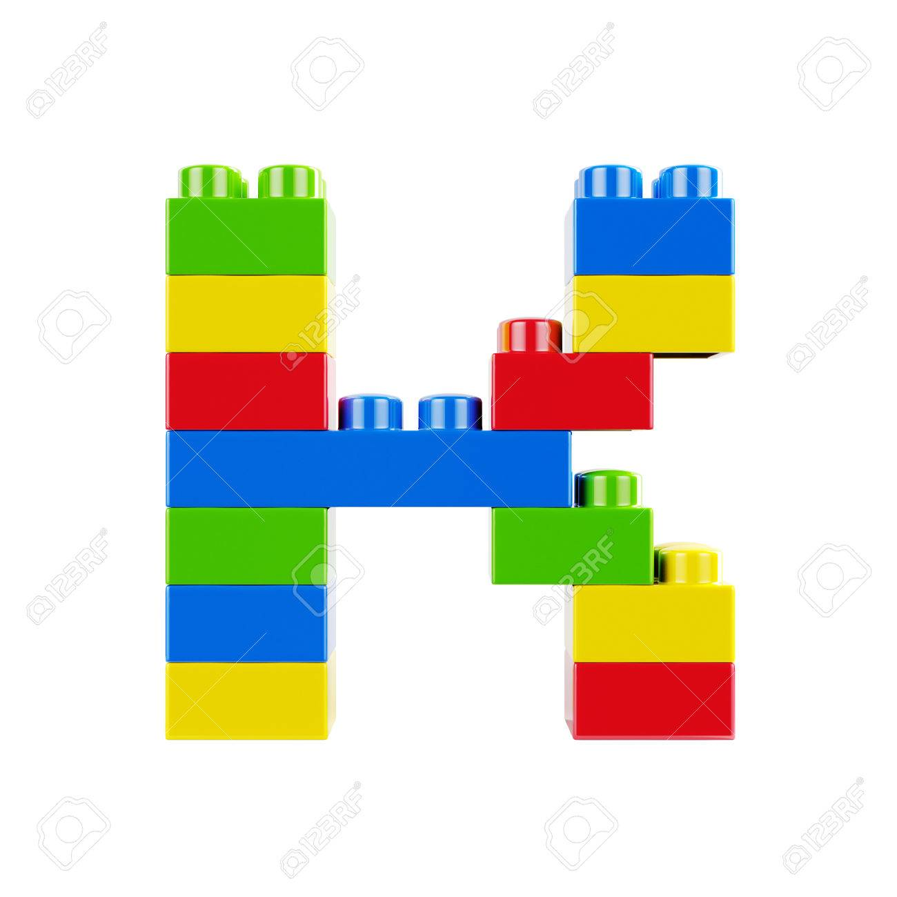 Letter K Plastic Font Alphabet Character Made Of Toy Construction