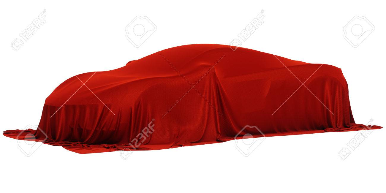New racing design car covered with red cloth. 3d rendering illustration - 75940970