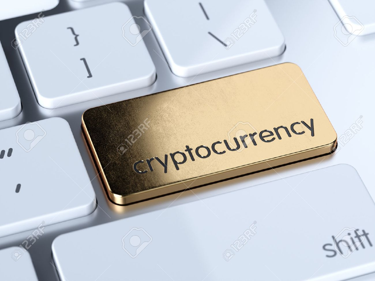 Golden cryptocurrency service sign button on white computer keyboard. 3d rendering concept - 81563387