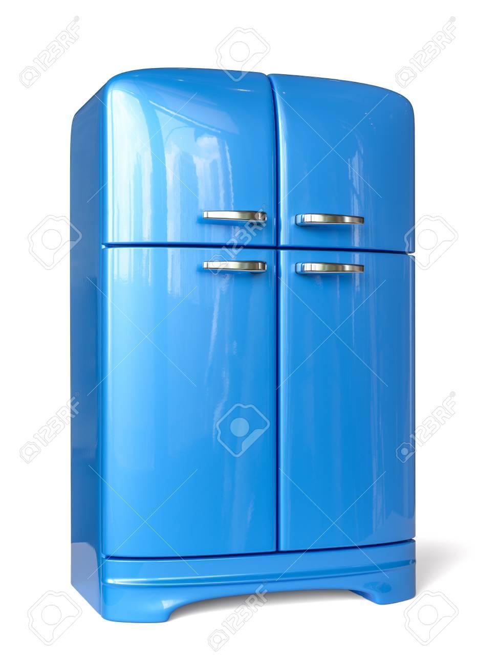 Blauer Retro Kühlschrank Kühlschrank. Bild Der Wiedergabe 3d ...