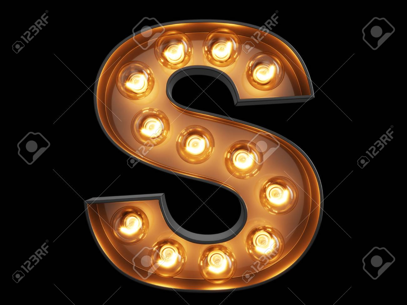 Light bulb glowing letter alphabet character S font. Front view illuminated capital symbol on black background. 3d rendering illustration - 83941502