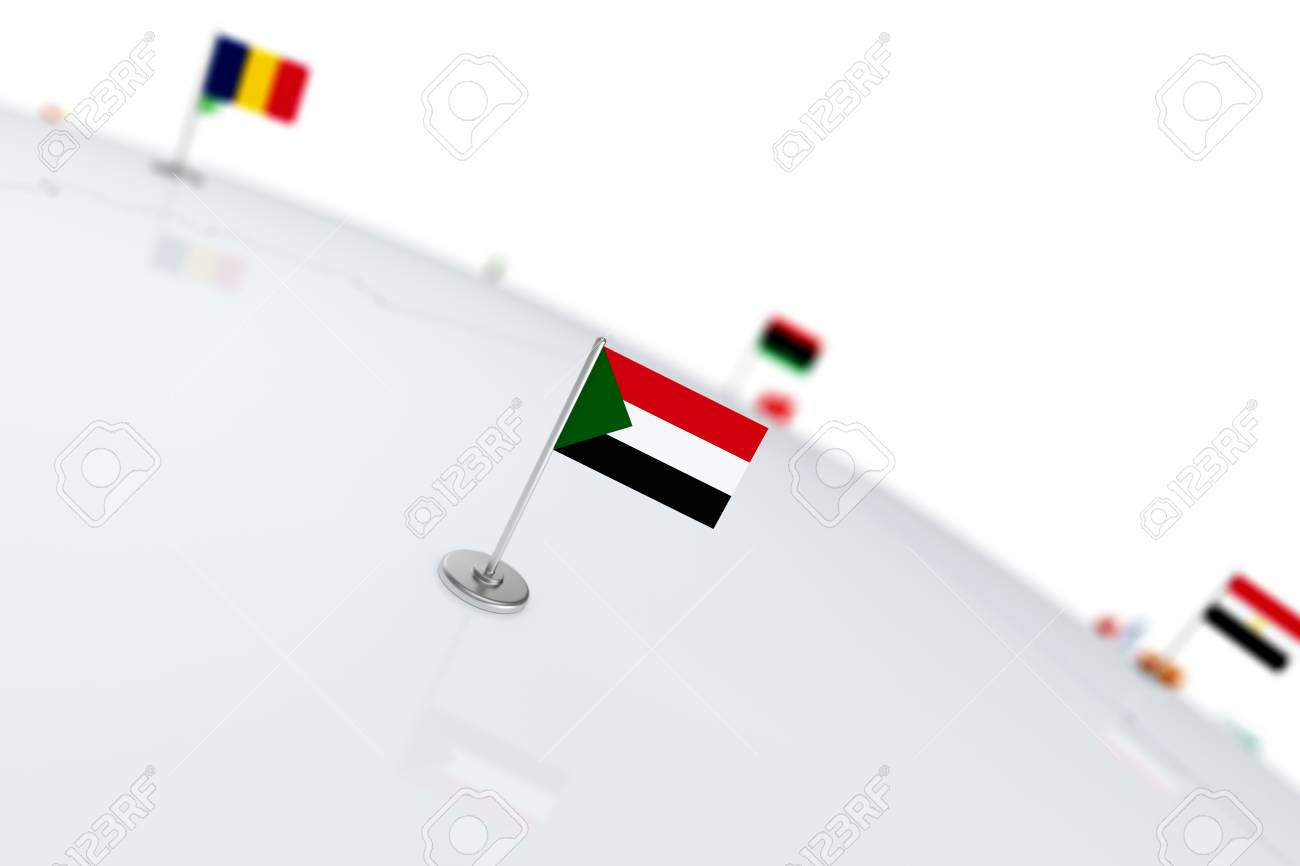 Sudan flag country flag with chrome flagpole on the world map illustration sudan flag country flag with chrome flagpole on the world map with neighbors countries borders 3d illustration rendering flag gumiabroncs Choice Image