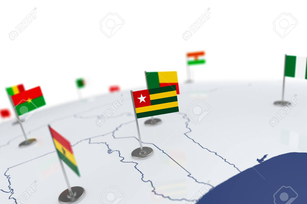 Togo flag country flag with chrome flagpole on the world map illustration togo flag country flag with chrome flagpole on the world map with neighbors countries borders 3d illustration rendering flag gumiabroncs Choice Image