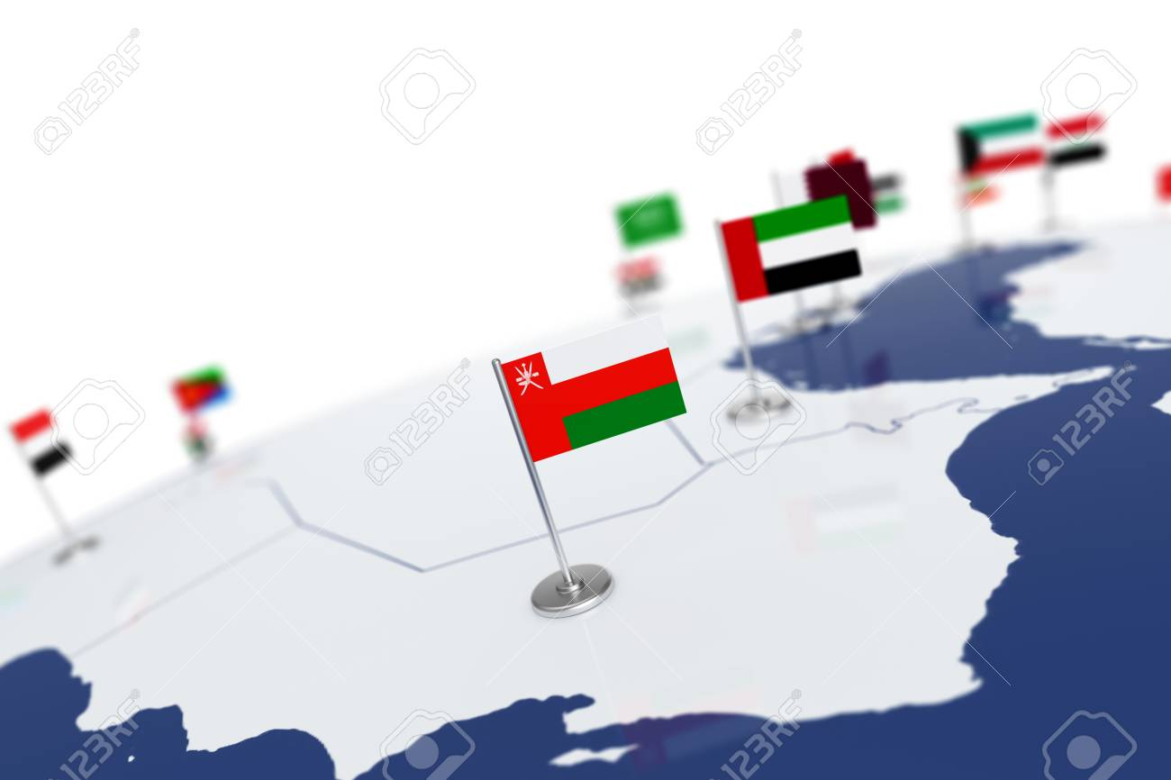 Oman flag country flag with chrome flagpole on the world map illustration oman flag country flag with chrome flagpole on the world map with neighbors countries borders 3d illustration rendering flag gumiabroncs Image collections
