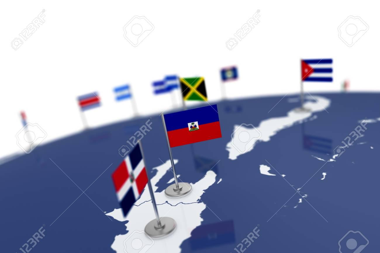Haiti flag country flag with chrome flagpole on the world map haiti flag country flag with chrome flagpole on the world map with neighbors countries borders gumiabroncs Images