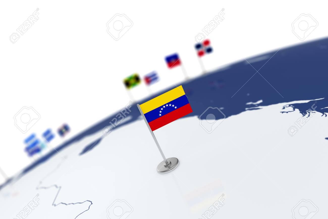 Venezuela flag country flag with chrome flagpole on the world illustration venezuela flag country flag with chrome flagpole on the world map with neighbors countries borders 3d illustration rendering flag gumiabroncs Gallery