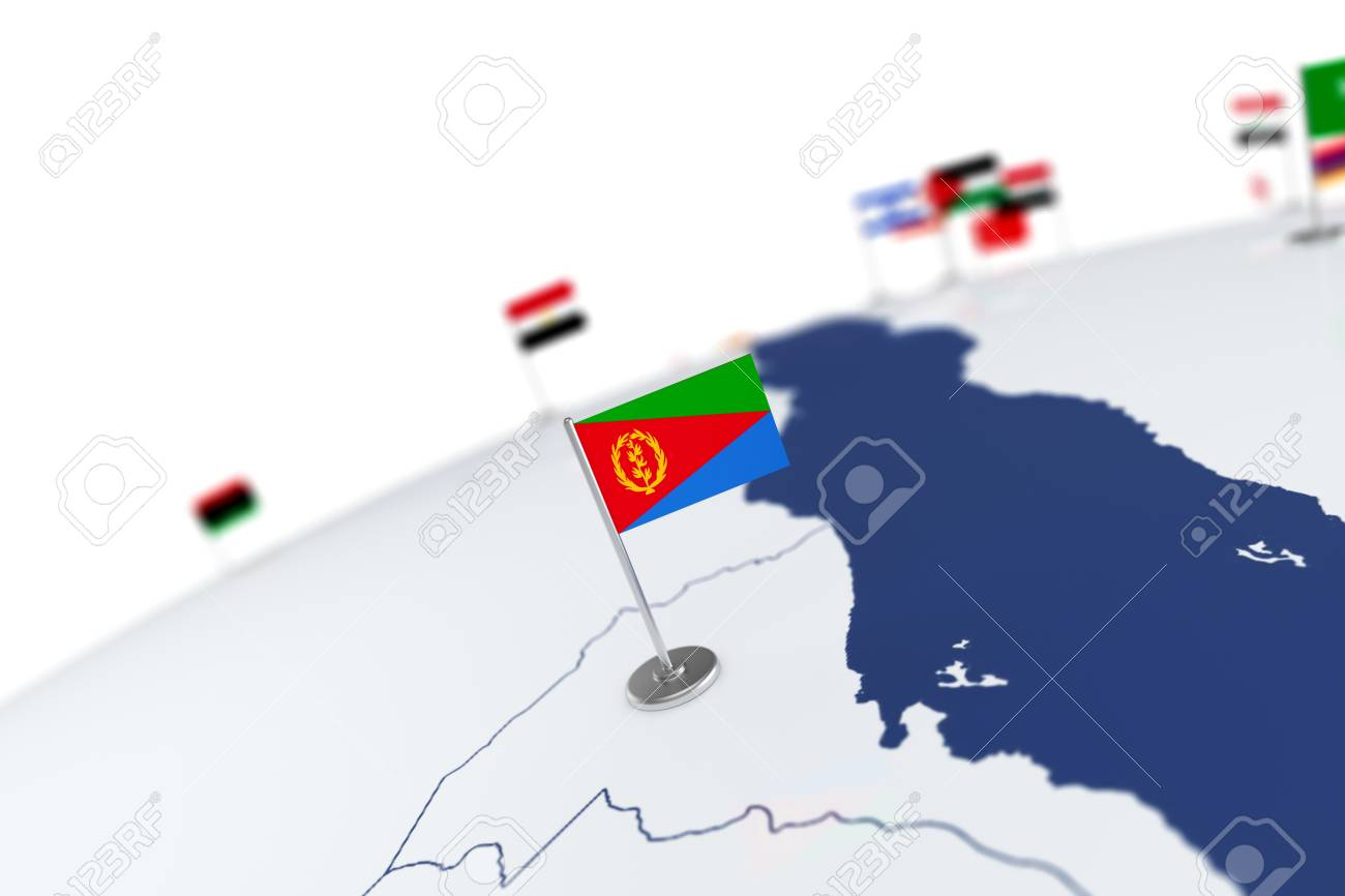 Eritrea flag country flag with chrome flagpole on the world stock eritrea flag country flag with chrome flagpole on the world map with neighbors countries borders gumiabroncs