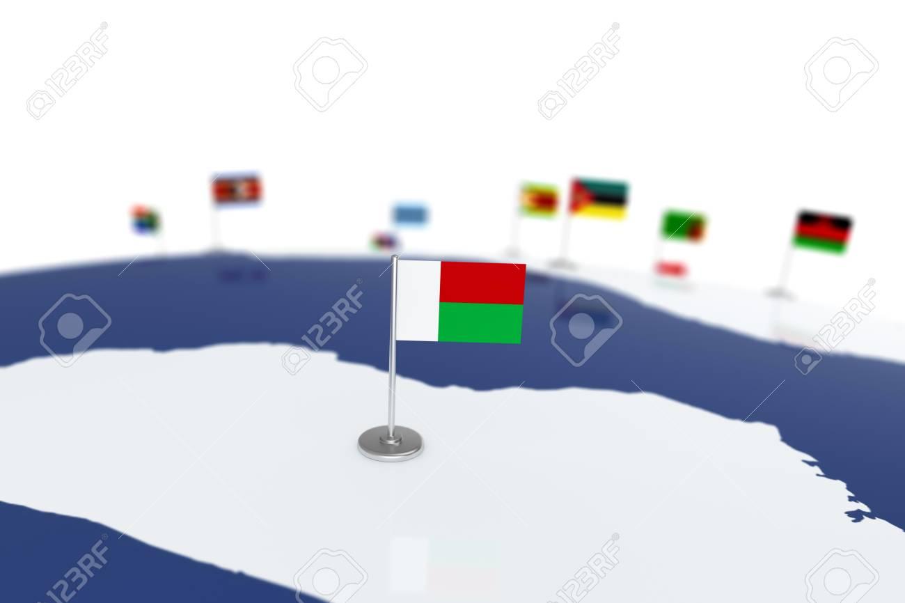 Drapeau De Madagascar Drapeau De Pays Avec Mât De Chrome Sur La Carte Du Monde Avec Les Frontières Des Pays Voisins Drapeau De Rendu Illustration 3d